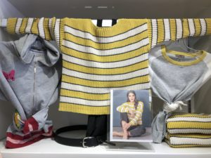 yellow striped sweater grey flowers model